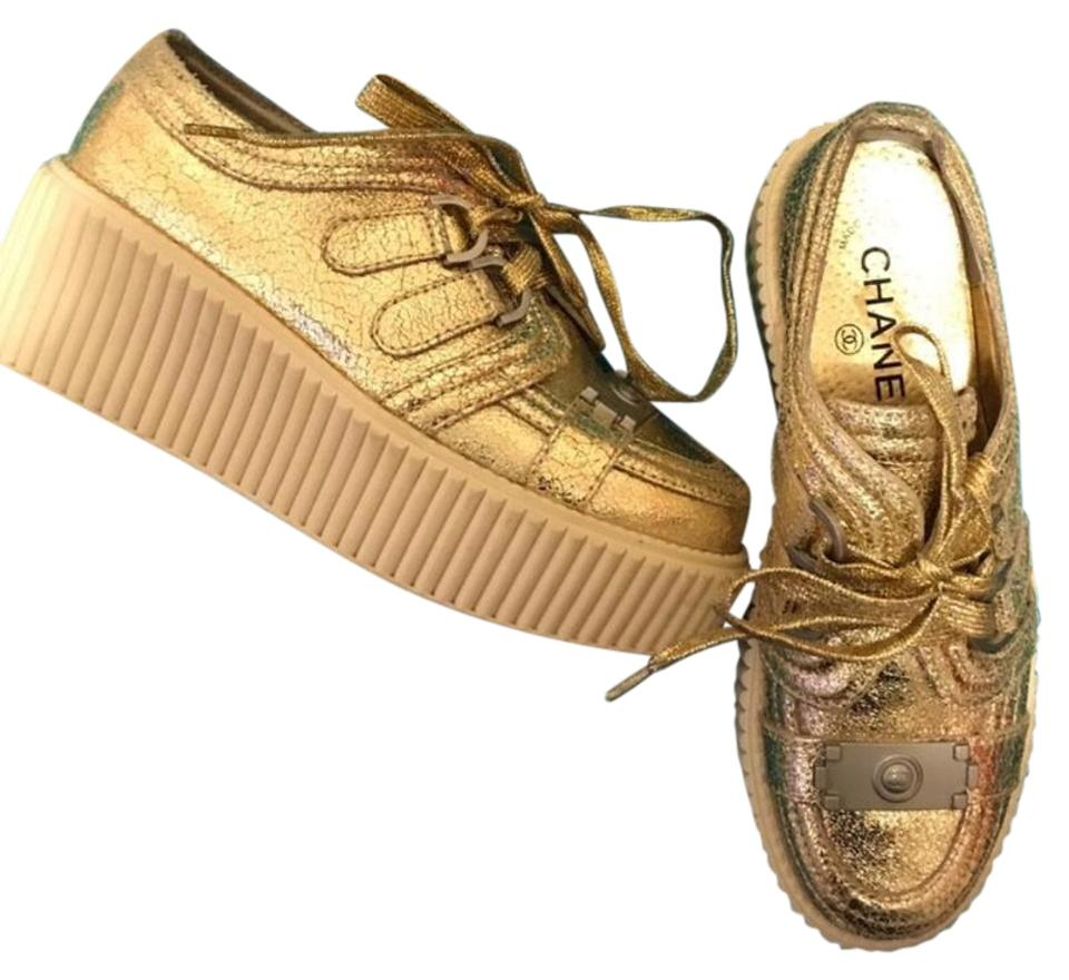 602623a8877 Chanel Gold Boy Lame Creepers Platforms Size EU 37 (Approx. US 7 ...