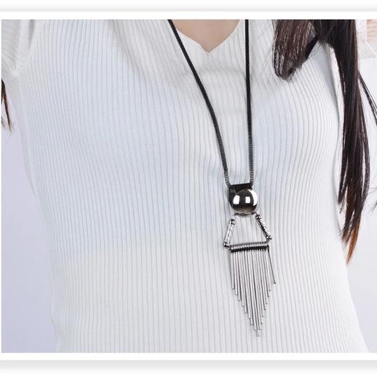 Other Retro Punk Statement Tassel Black Gun Plated Geometric Triangle Long Sweater Necklace
