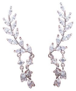 Other Luxury 925 Sterling Silver clad CZ Crystal Long Leaves AAA Zircon Earrings