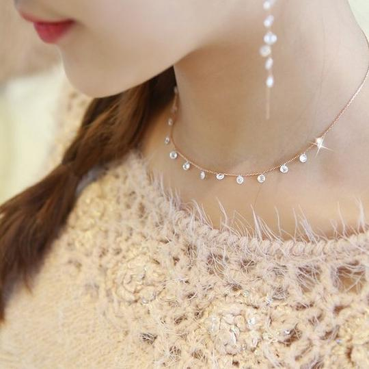 Other 100% 925 Sterling Silver Super shining Crystal Zircon Choker Necklace