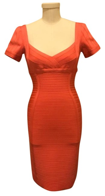 Preload https://img-static.tradesy.com/item/22342243/herve-leger-peach-knee-length-mid-length-cocktail-dress-size-8-m-0-1-650-650.jpg