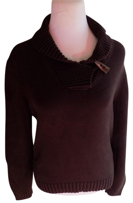 Preload https://img-static.tradesy.com/item/22342253/lauren-ralph-lauren-dark-brown-accent-collar-cotton-solid-classic-sweaterpullover-size-12-l-0-1-650-650.jpg