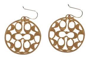 Coach Coach Gold Large Signature Round Earrings