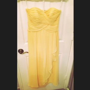 David's Bridal Canary Yellow Chiffon Strapless Crinkle Cascade Skirt W10840 Formal Bridesmaid/Mob Dress Size 4 (S)