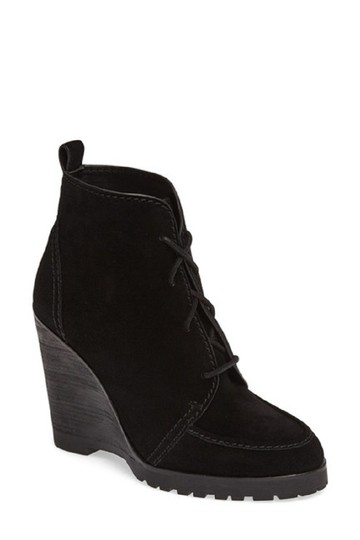 Michael Kors Suede Leather Wedge Ankle Black Boots
