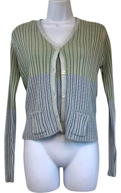 Preload https://img-static.tradesy.com/item/22342368/easel-ribbed-green-blue-ombre-cotton-knit-twinset-m-cardigan-size-8-m-0-2-650-650.jpg