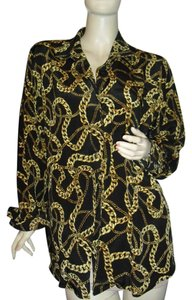 Louis Dell'Olio Button Down Shirt pure silk,brown, gold