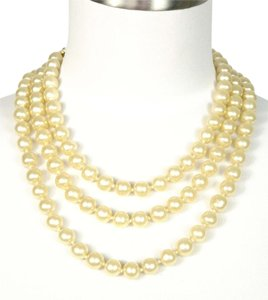 "Chanel Mint Authentic Chanel Jumbo 10mm Cream Faux Pearl Long 60"" Necklace"