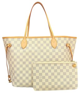 4b5c457d0015 Louis Vuitton Lv Damier Azur Neverfull Mm Canvas Shoulder Bag