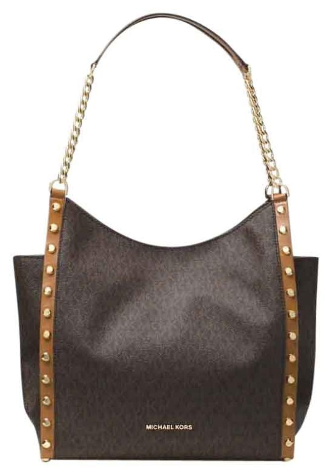 1cb7823b6b98 Michael Kors Shoulder Bag Signature Newbury Medium Chain Brown Pvc ...