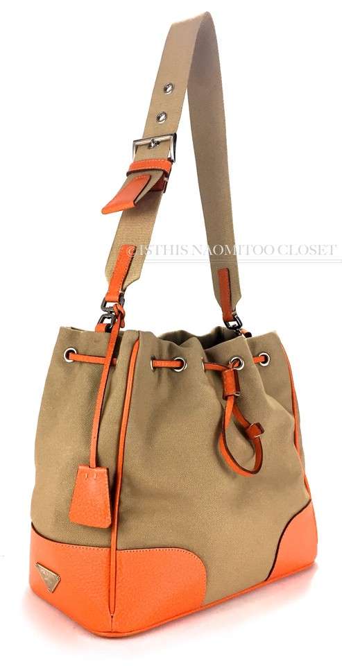 9c890b25e601 Prada Milano Made In Italy Orange Leather Large Single Brown Canvas  Shoulder Bag - Tradesy