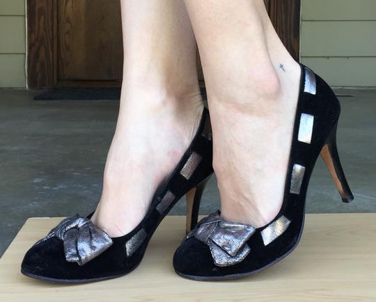 MIA Velvet Bow Woven Metallic Black and Gunmetal Pumps