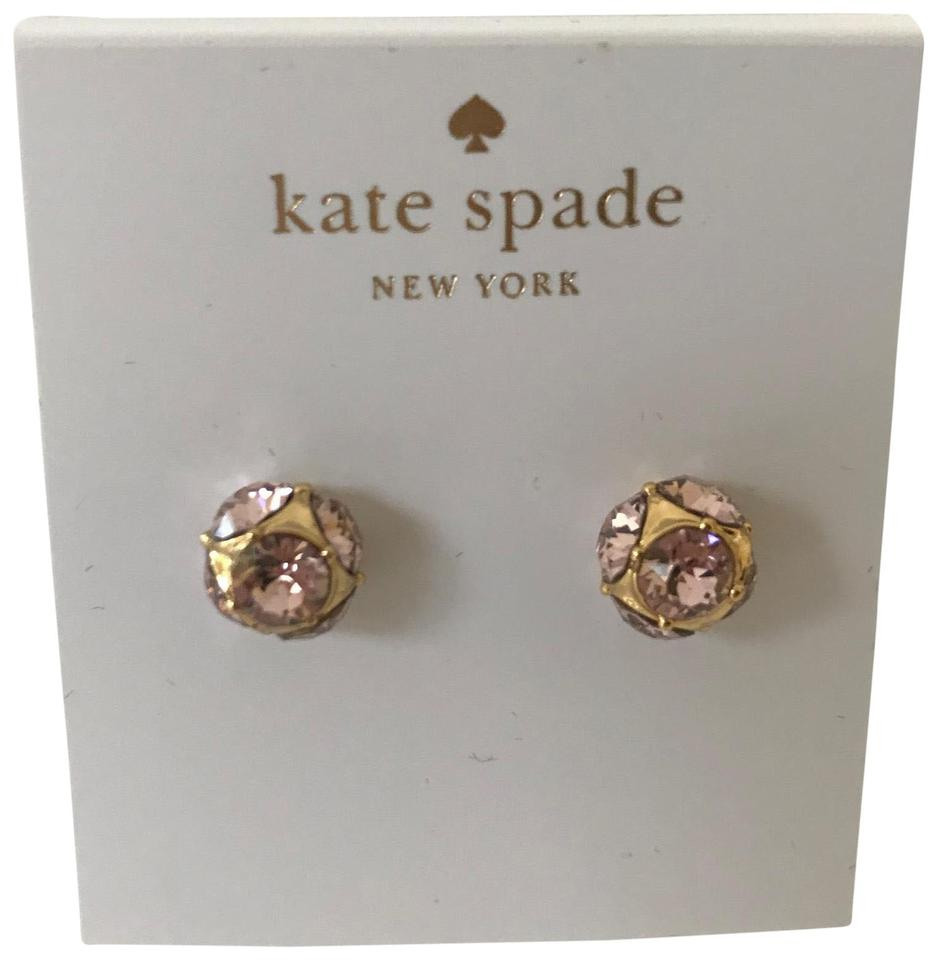 5cb404549a86f Kate Spade Gold Tone Pink Ny Crystal Cluster Stones Stud Earrings
