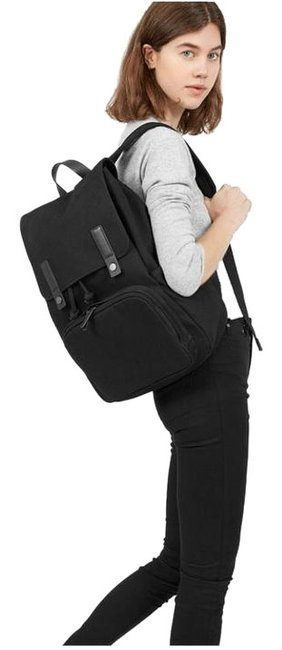 Item - Modern Snap Black Water-resistant Cotton Twill Backpack