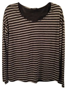 Solemio Longsleeve Sheer Striped Soft Top Black and off white