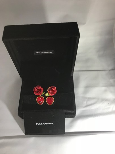 Dolce&Gabbana Women's Red Earrings With Crystal Heart Image 1
