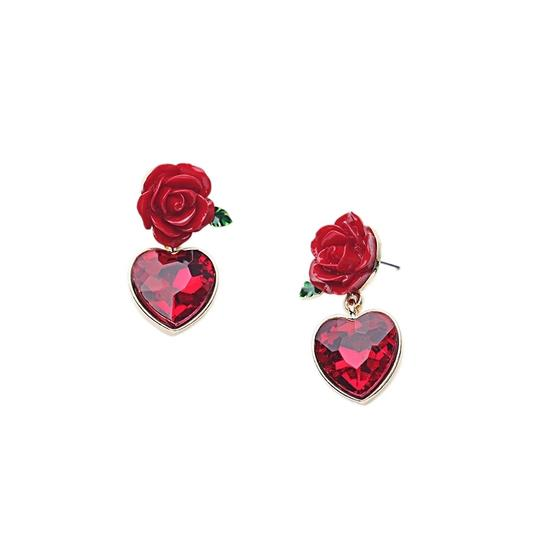 Dolce&Gabbana Women's Red Earrings With Crystal Heart Image 2
