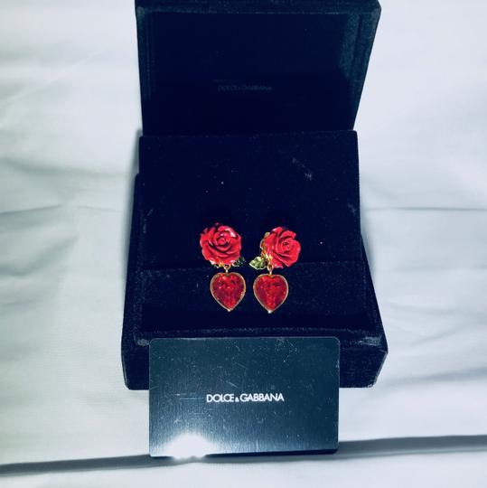 Dolce&Gabbana Women's Red Earrings With Crystal Heart Image 4