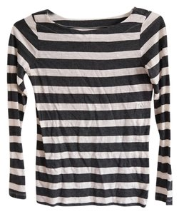 Ann Taylor Loft Striped T Shirt Black, White