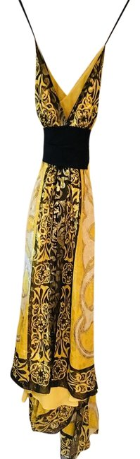 Item - Black White Yellow Gold Collection Long Formal Dress Size 6 (S)