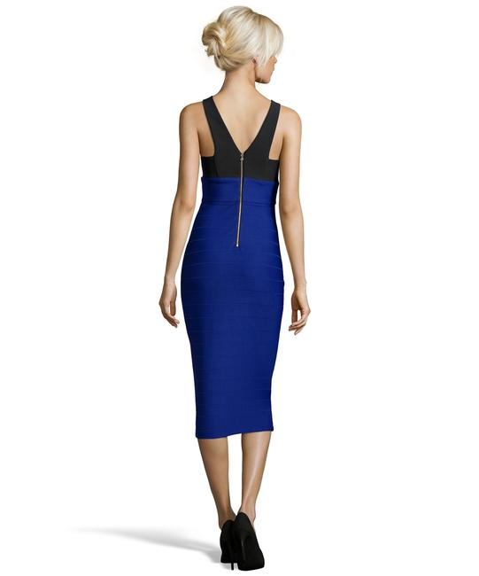 Item - Black and Blue Royal Stretch Body-con Mid-length Cocktail Dress Size 2 (XS)