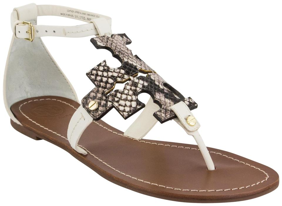 e39db1e17 Tory Burch Ivory Black White Phoebe Flat Sandals Size US 9.5 Regular ...