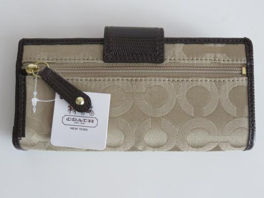 Coach Nwt Coach Madison Khaki OP Signature With Brown Lizard Leather Wallet