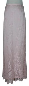 Escada Chantilly Lace Lace Full Length Silk Maxi Skirt pink