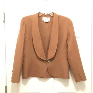 Oscar de la Renta Couture Wool Silk Jacket Made In Italy Beige Brown Blazer