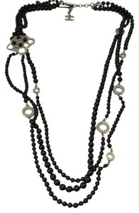 Chanel CHANEL NWT BLACK RESIN PEARL & CRYSTAL PENDANT NECKLACE ($3300) W/TAX