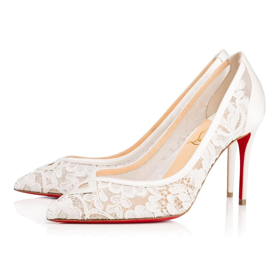 reputable site eb96e 712d9 Christian Louboutin Cream White Neoalto 85mm Satin Lace Dentelle Wedding  Pumps Size US 7 Regular (M, B) 30% off retail