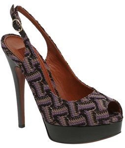 Missoni Premium Knit Patent Slingback Platform Black and Purple Pumps