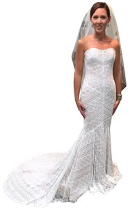 Wtoo Off White with Rose Gold Lining Lace Watters & Watters Gown 13111 Sexy Wedding Dress Size 0 (XS)