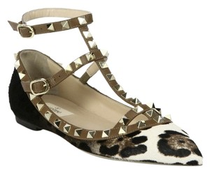 Valentino Rockstud Leopard Calf Hair Cage Thong black white black ivory Flats