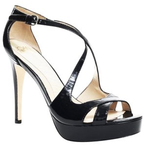 Joan & David Leather Strappy Night Out Pump Black Patent Platforms