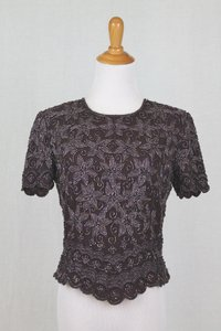 Adrianna Papell Brown Beaded Silk 1930's 40s Inspired Short Sleeve Top Traditional Bridesmaid/Mob Dress Size 4 (S)