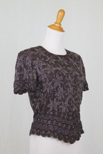 Adrianna Papell Brown Beaded Silk 1930's 40s Inspired Short Sleeve Top Traditional Bridesmaid/Mob Dress Size 4 (S) Image 1