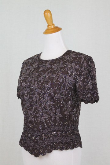 Adrianna Papell Brown Beaded Silk 1930's 40s Inspired Short Sleeve Top Traditional Bridesmaid/Mob Dress Size 4 (S) Image 2