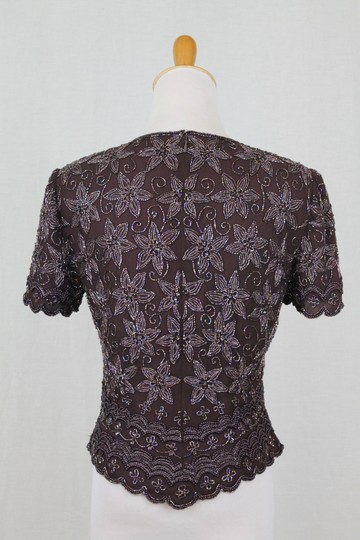 Adrianna Papell Brown Beaded Silk 1930's 40s Inspired Short Sleeve Top Traditional Bridesmaid/Mob Dress Size 4 (S) Image 3