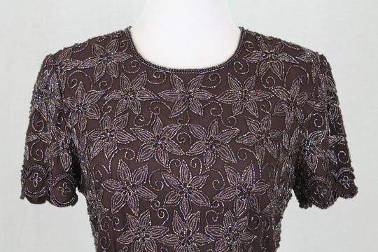 Adrianna Papell Brown Beaded Silk 1930's 40s Inspired Short Sleeve Top Traditional Bridesmaid/Mob Dress Size 4 (S) Image 4