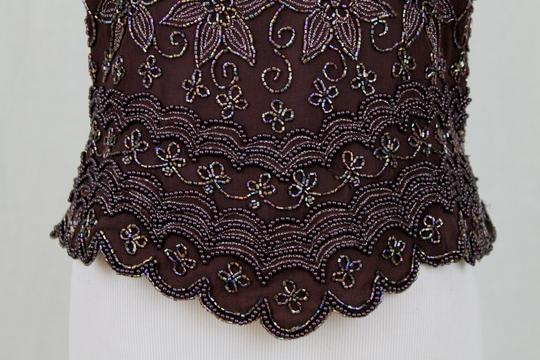 Adrianna Papell Brown Beaded Silk 1930's 40s Inspired Short Sleeve Top Traditional Bridesmaid/Mob Dress Size 4 (S) Image 5