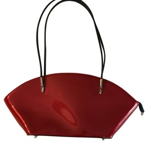 Beijo Patent Leather Satchel in Lipstick Red and Black