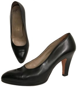 Salvatore Ferragamo Pump Leather Vintage Designer Black Platforms