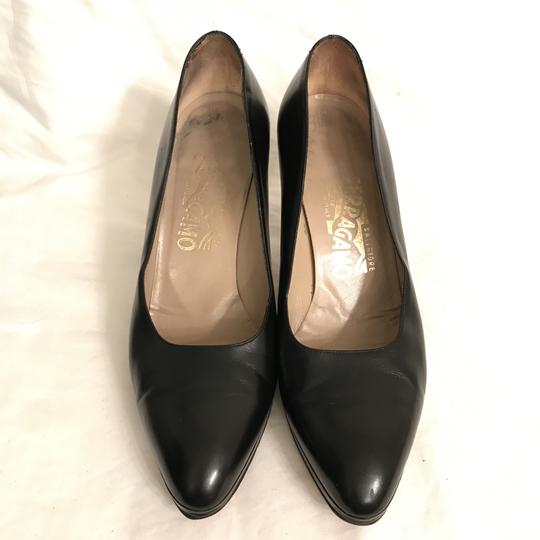 Salvatore Ferragamo Pump Leather Vintage Designer Black Platforms Image 1