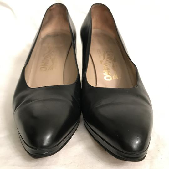 Salvatore Ferragamo Pump Leather Vintage Designer Black Platforms Image 3