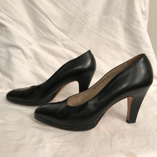 Salvatore Ferragamo Pump Leather Vintage Designer Black Platforms Image 6