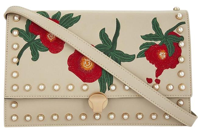 Item - Poppy Floral Embroidered Pearl Studs Multi Color Faux Leather Cross Body Bag