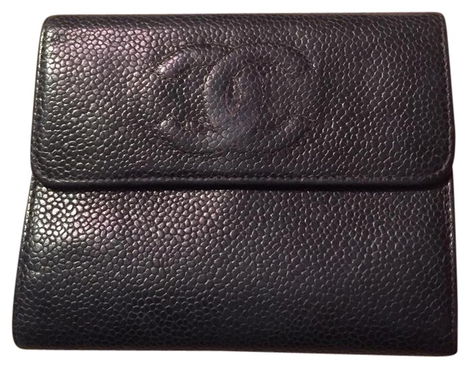 69c85f5768f724 Chanel Black Pebbled Leather Wallet - Tradesy