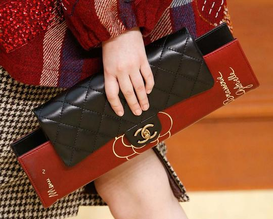Chanel Flap Rare Burgundy & Black Clutch Image 10