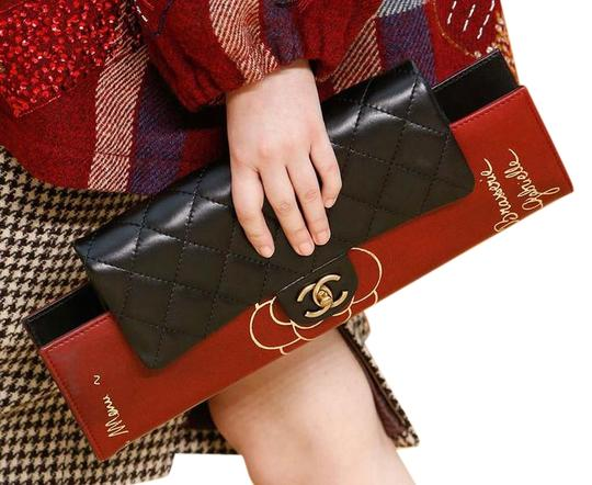 Chanel Flap Rare Burgundy & Black Clutch Image 2